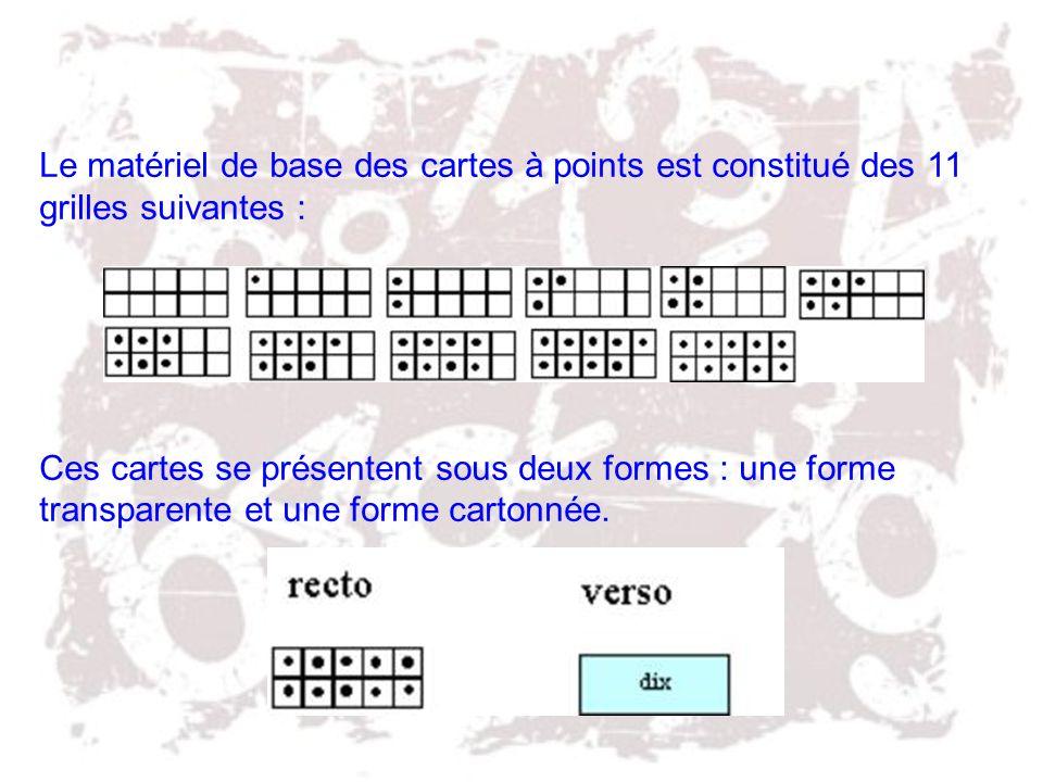 Le matériel de base des cartes à points est constitué des 11 grilles suivantes :