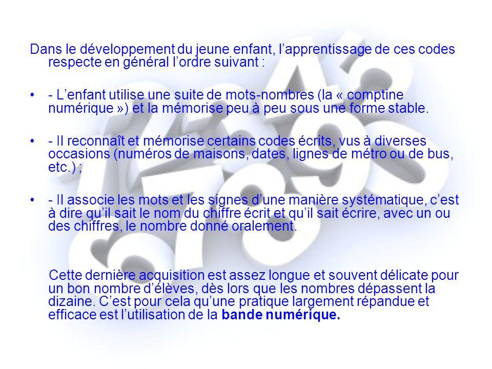 Dans le développement du jeune enfant, l'apprentissage de ces codes respecte en général l'ordre suivant :