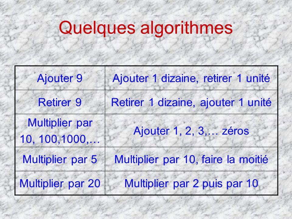 Quelques algorithmes Ajouter 9 Ajouter 1 dizaine, retirer 1 unité