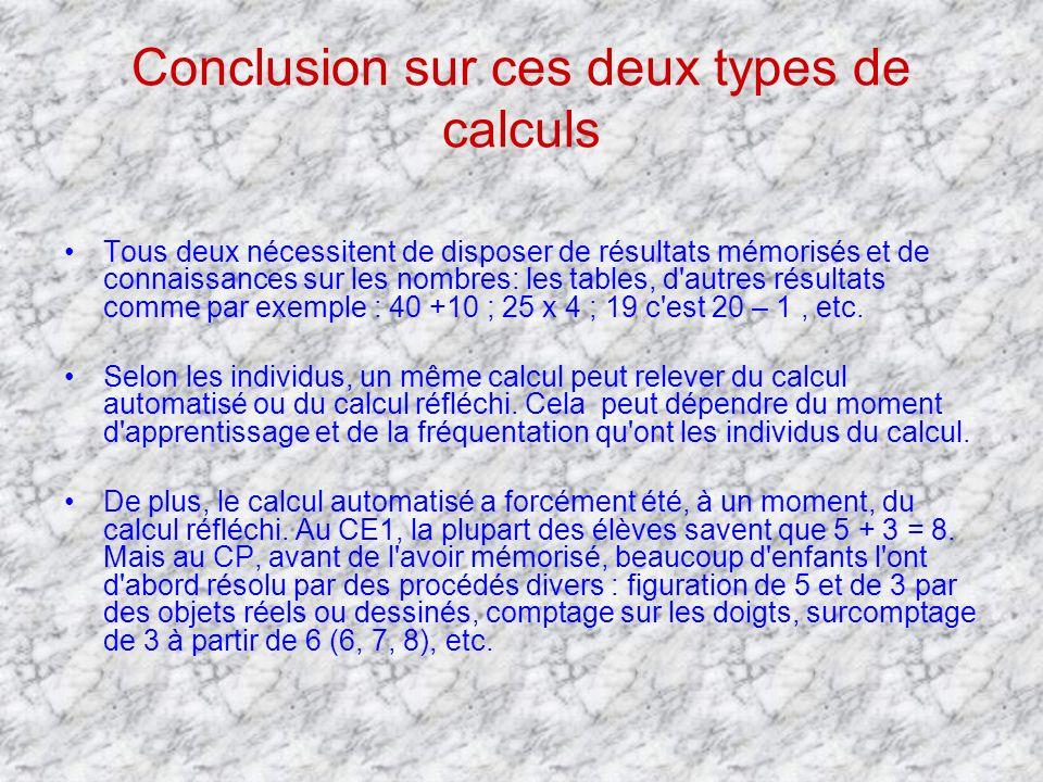 Conclusion sur ces deux types de calculs