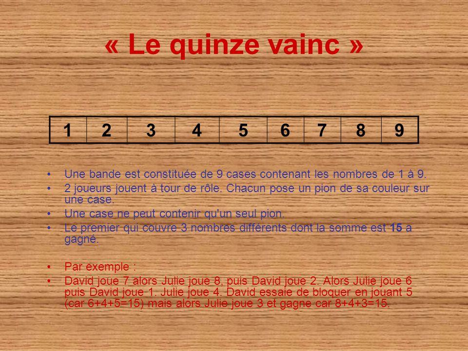« Le quinze vainc » 1. 2. 3. 4. 5. 6. 7. 8. 9. Une bande est constituée de 9 cases contenant les nombres de 1 à 9.