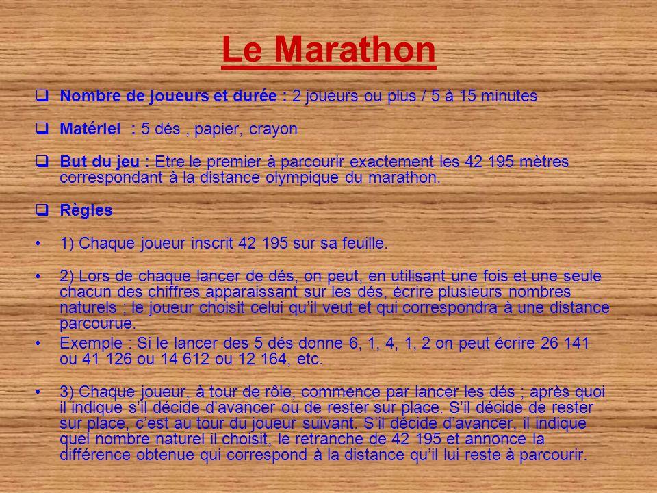 Le Marathon Nombre de joueurs et durée : 2 joueurs ou plus / 5 à 15 minutes. Matériel : 5 dés , papier, crayon.