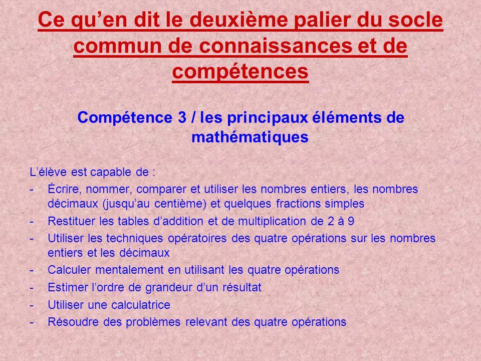 Compétence 3 / les principaux éléments de mathématiques
