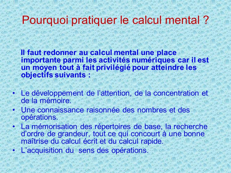 Pourquoi pratiquer le calcul mental