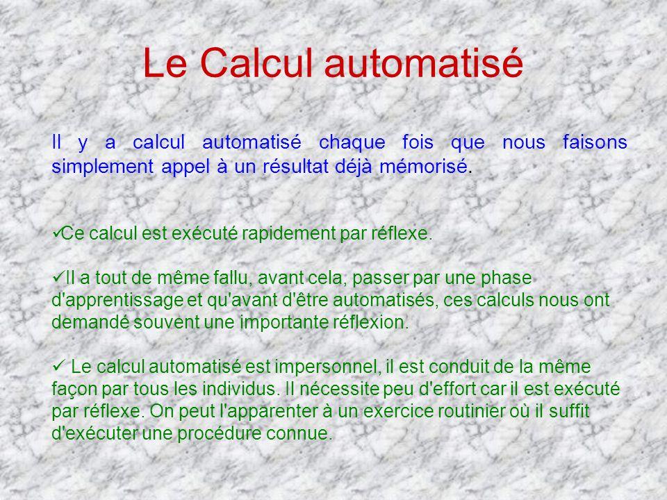 Le Calcul automatisé Il y a calcul automatisé chaque fois que nous faisons simplement appel à un résultat déjà mémorisé.
