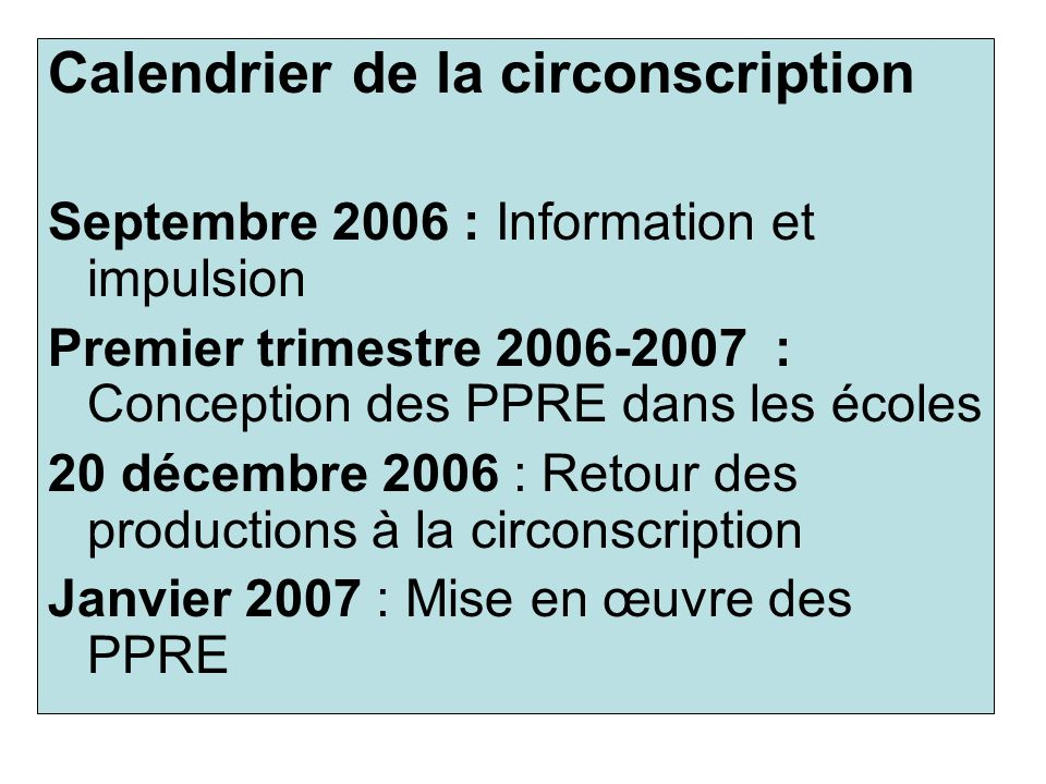Calendrier de la circonscription