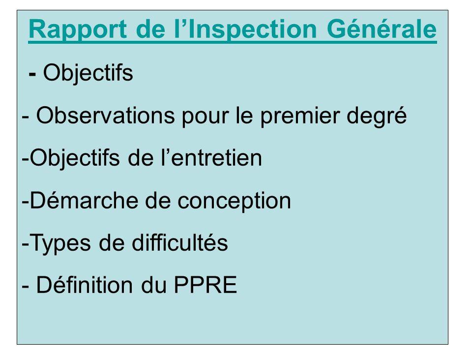 Rapport de l'Inspection Générale