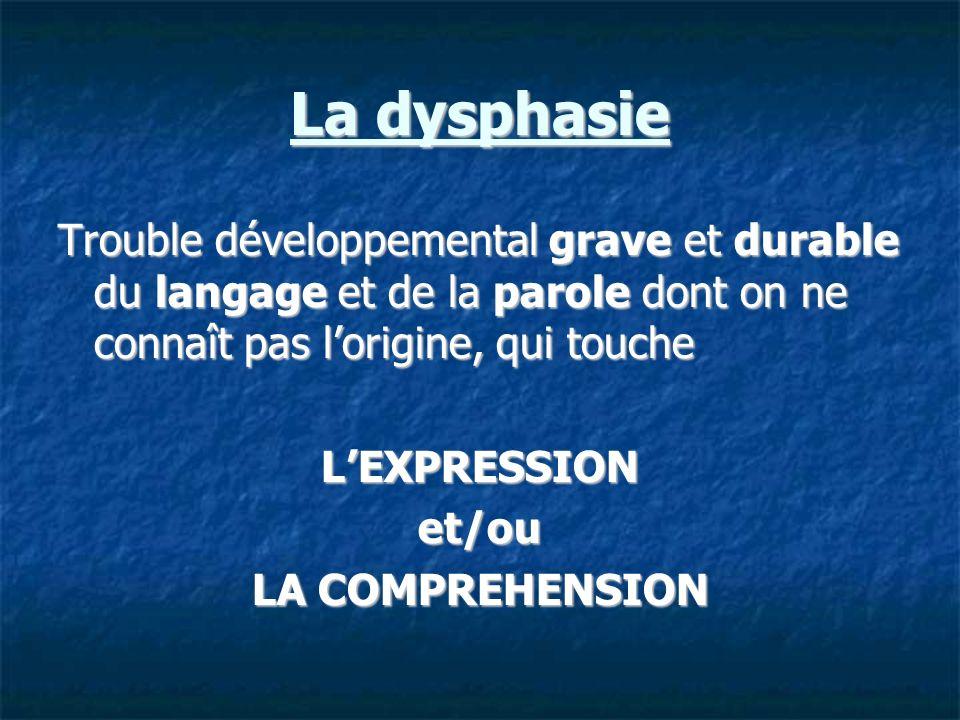 La dysphasie Trouble développemental grave et durable du langage et de la parole dont on ne connaît pas l'origine, qui touche.