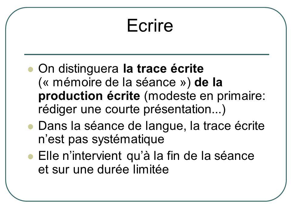 Ecrire On distinguera la trace écrite (« mémoire de la séance ») de la production écrite (modeste en primaire: rédiger une courte présentation...)
