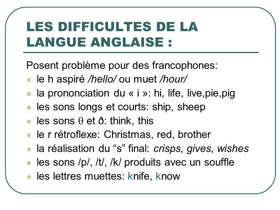 LES DIFFICULTES DE LA LANGUE ANGLAISE :