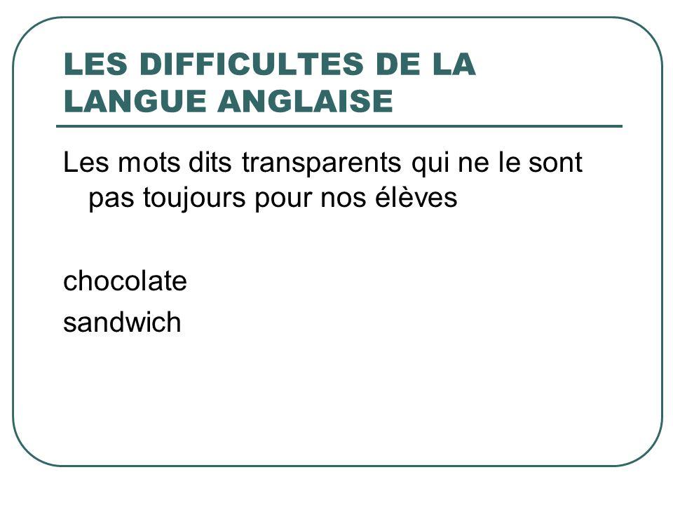 LES DIFFICULTES DE LA LANGUE ANGLAISE