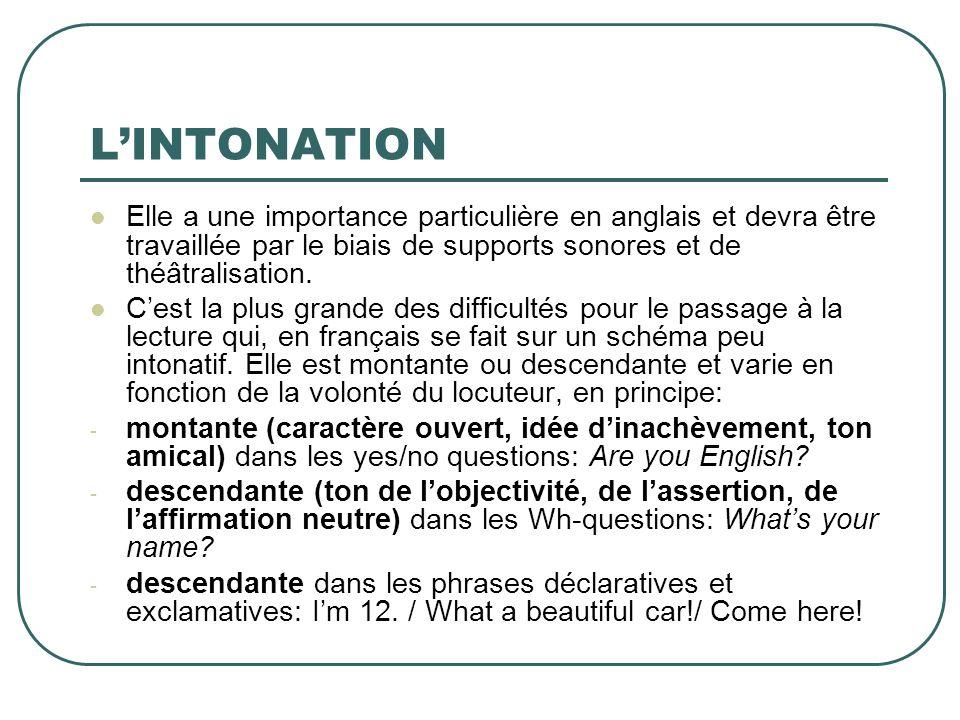 L'INTONATION Elle a une importance particulière en anglais et devra être travaillée par le biais de supports sonores et de théâtralisation.