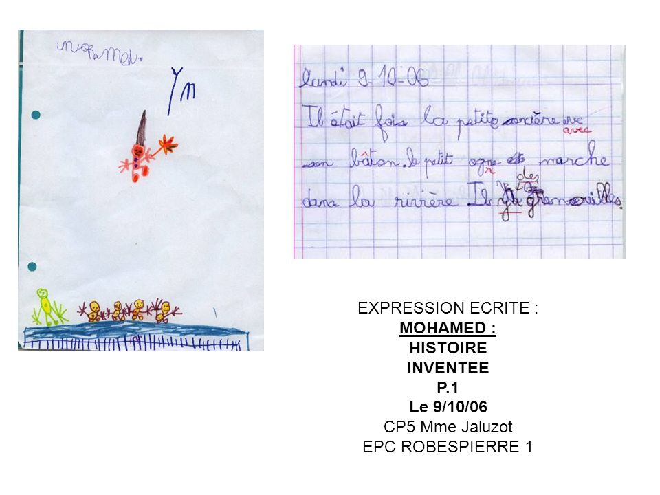 EXPRESSION ECRITE : MOHAMED : HISTOIRE INVENTEE P.1 Le 9/10/06 CP5 Mme Jaluzot EPC ROBESPIERRE 1