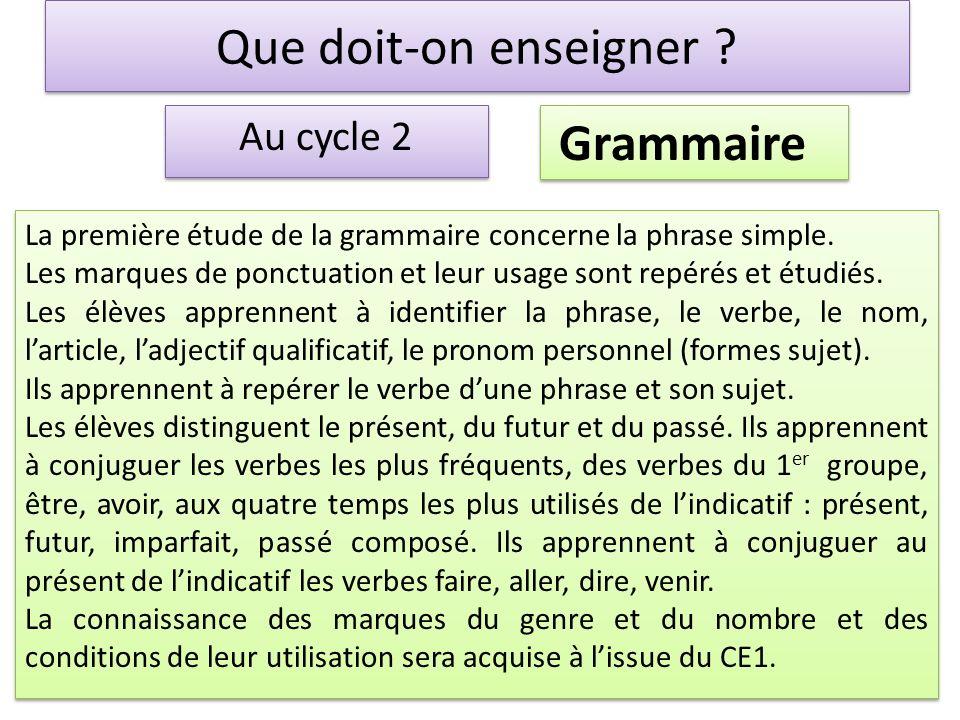 Que doit-on enseigner Grammaire Au cycle 2