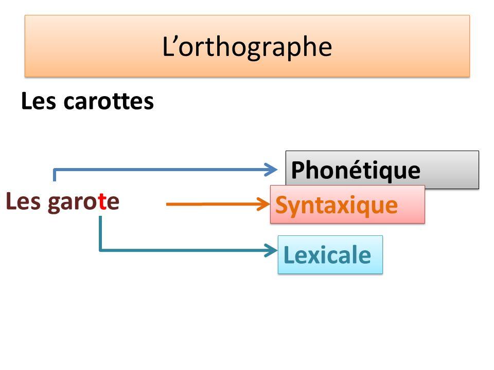 L'orthographe Les carottes Phonétique Les garote Les garote (s)