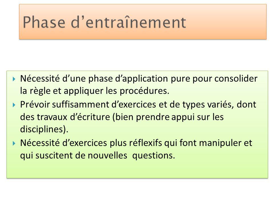 Nécessité d'une phase d'application pure pour consolider la règle et appliquer les procédures.