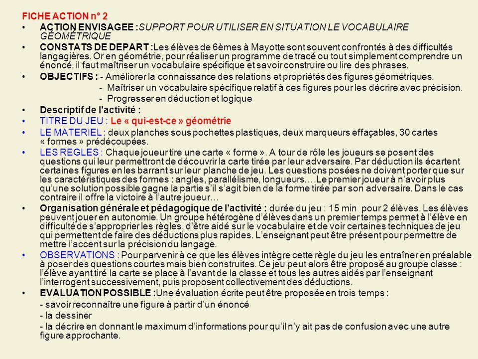 FICHE ACTION n° 2 ACTION ENVISAGEE :SUPPORT POUR UTILISER EN SITUATION LE VOCABULAIRE GÉOMÉTRIQUE.