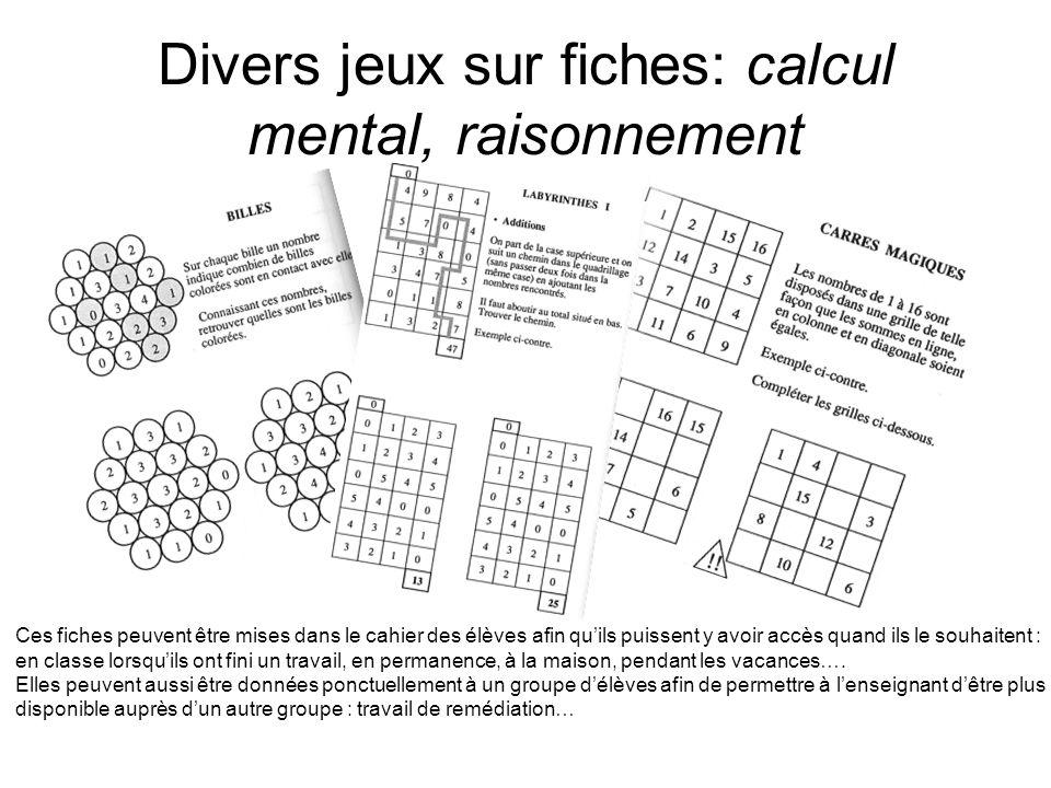 Divers jeux sur fiches: calcul mental, raisonnement