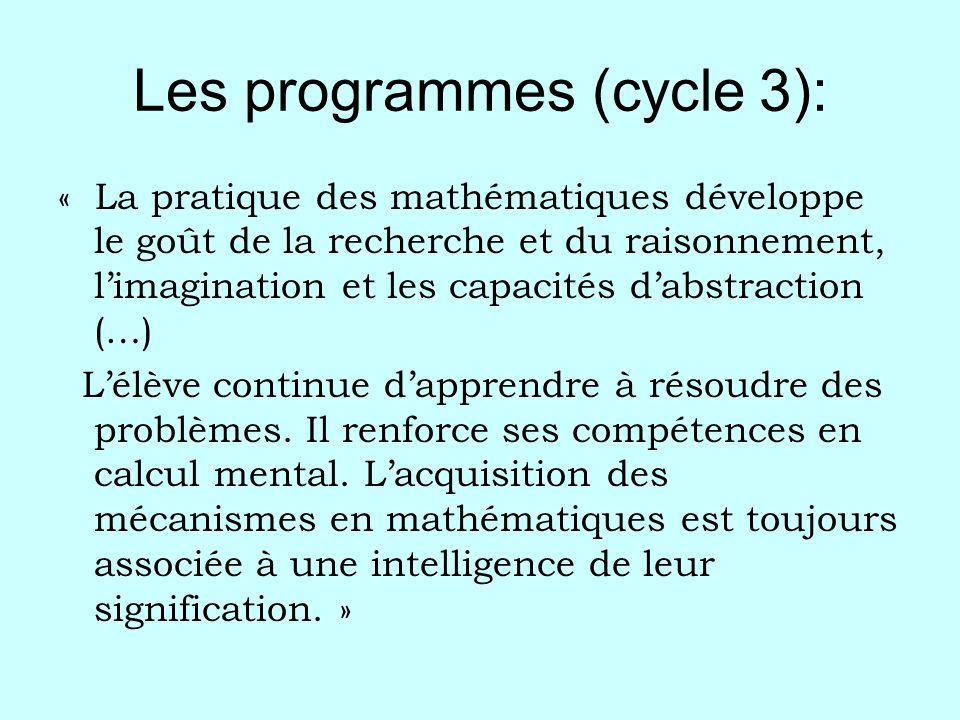 Les programmes (cycle 3):