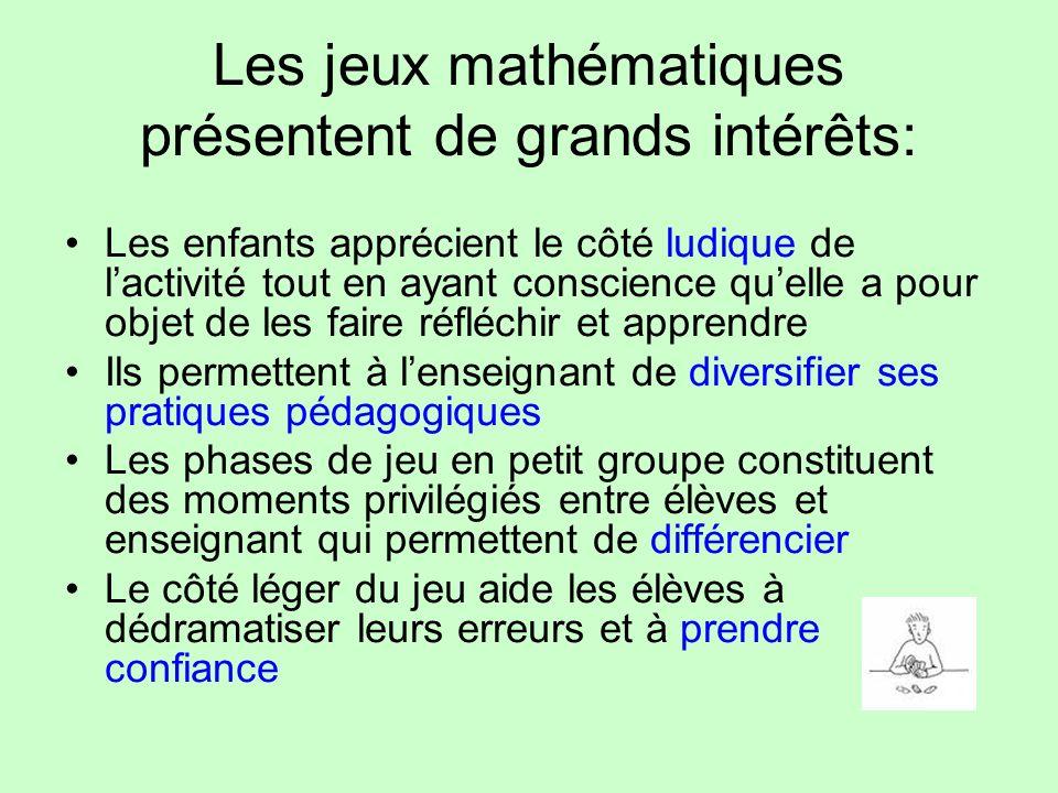 Les jeux mathématiques présentent de grands intérêts: