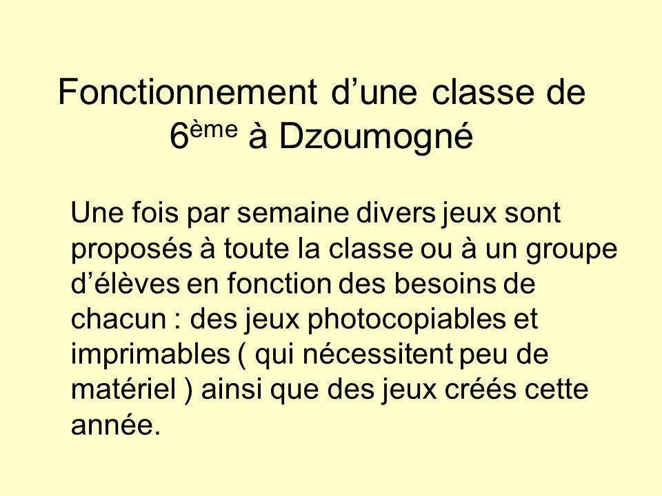 Fonctionnement d'une classe de 6ème à Dzoumogné