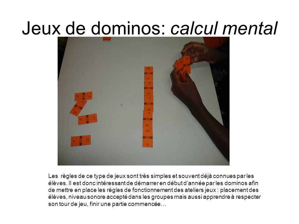 Jeux de dominos: calcul mental