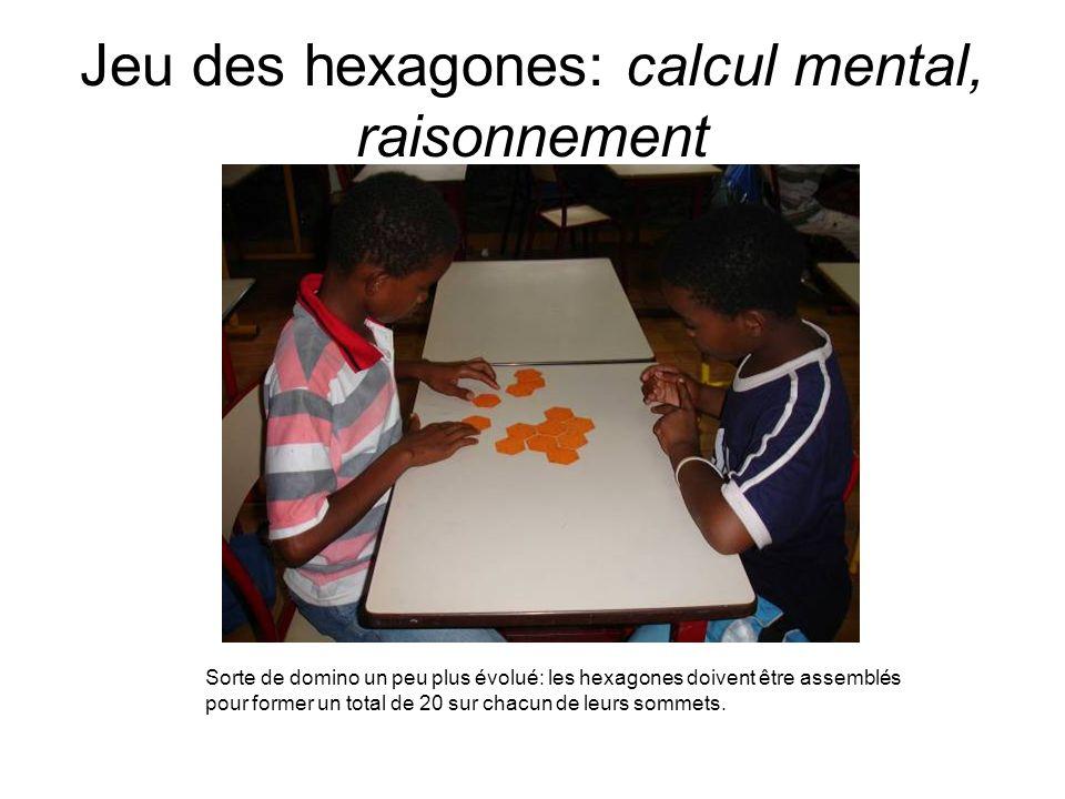 Jeu des hexagones: calcul mental, raisonnement