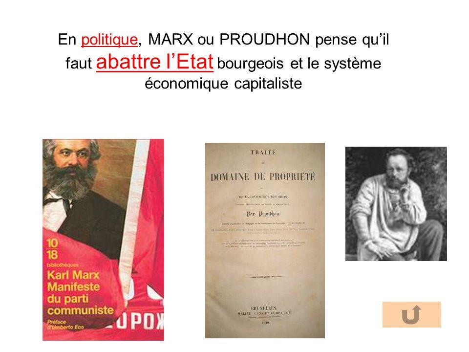 En politique, MARX ou PROUDHON pense qu'il faut abattre l'Etat bourgeois et le système économique capitaliste