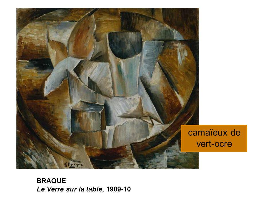 camaïeux de vert-ocre BRAQUE Le Verre sur la table, 1909-10