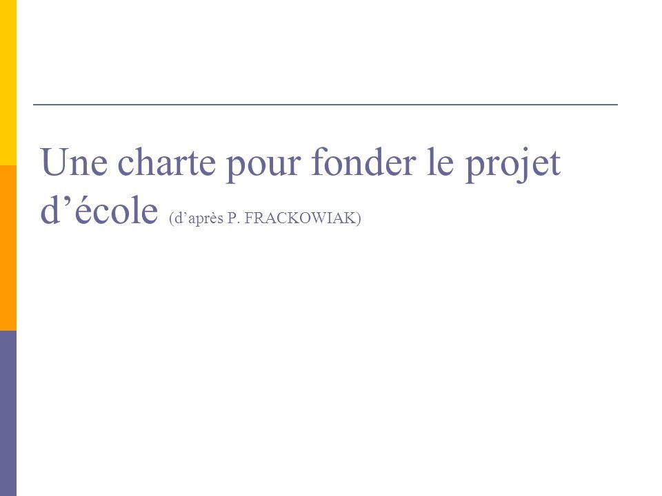 Une charte pour fonder le projet d'école (d'après P. FRACKOWIAK)