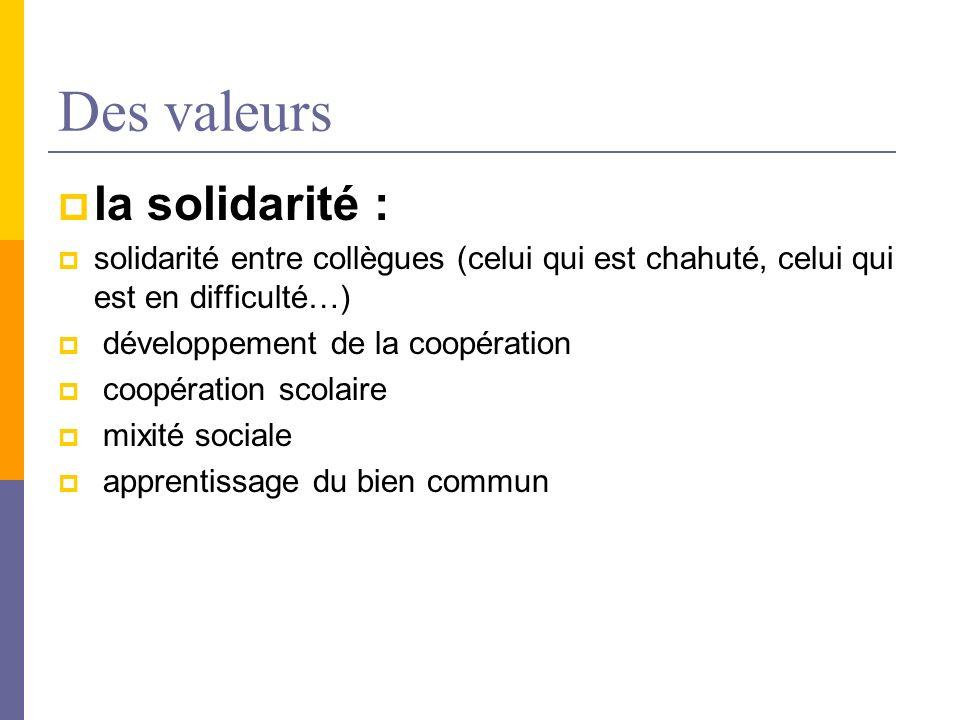 Des valeurs la solidarité :