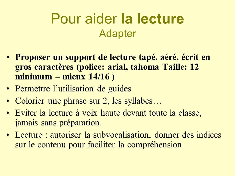 Pour aider la lecture Adapter