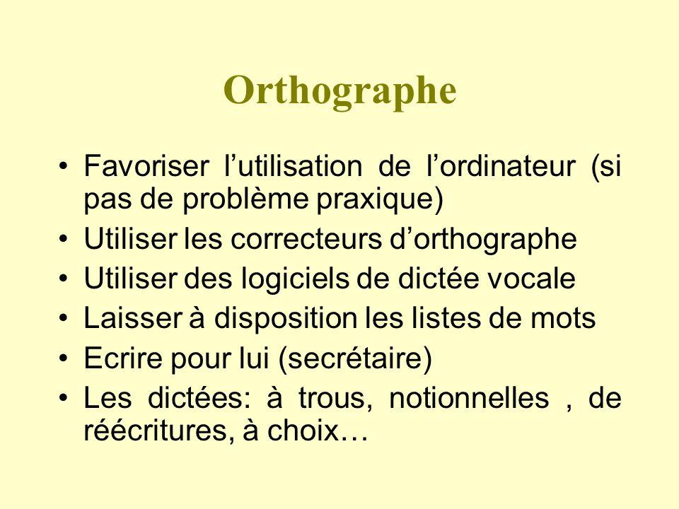 OrthographeFavoriser l'utilisation de l'ordinateur (si pas de problème praxique) Utiliser les correcteurs d'orthographe.