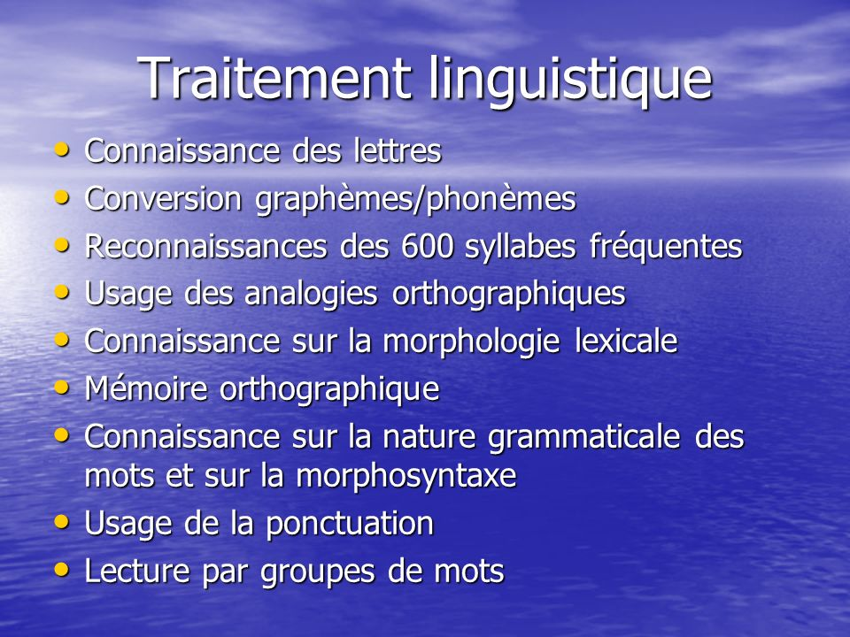 Traitement linguistique