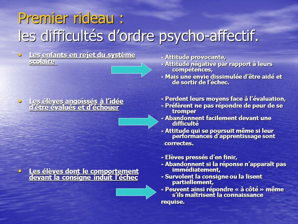 Premier rideau : les difficultés d'ordre psycho-affectif.