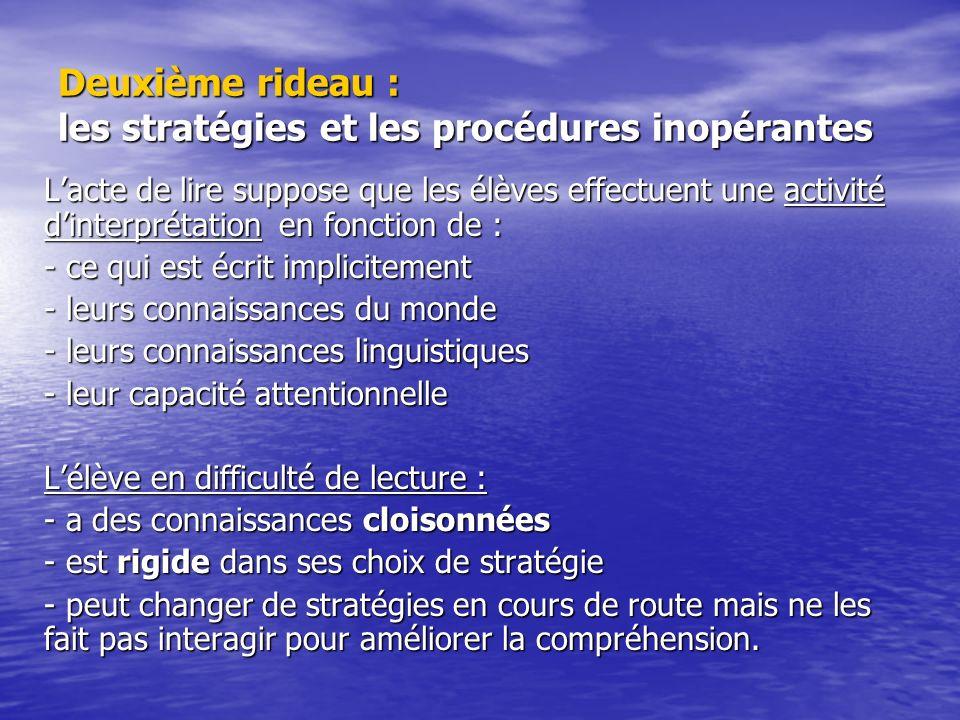 Deuxième rideau : les stratégies et les procédures inopérantes