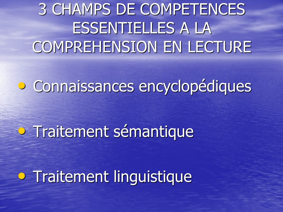 3 CHAMPS DE COMPETENCES ESSENTIELLES A LA COMPREHENSION EN LECTURE