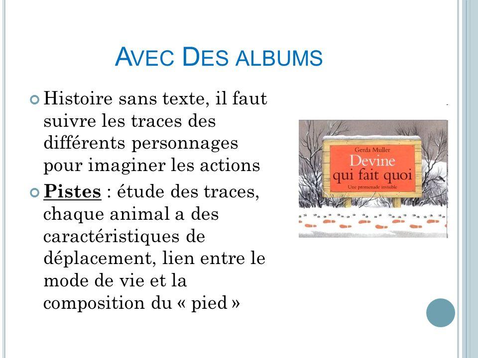 Avec Des albums Histoire sans texte, il faut suivre les traces des différents personnages pour imaginer les actions.