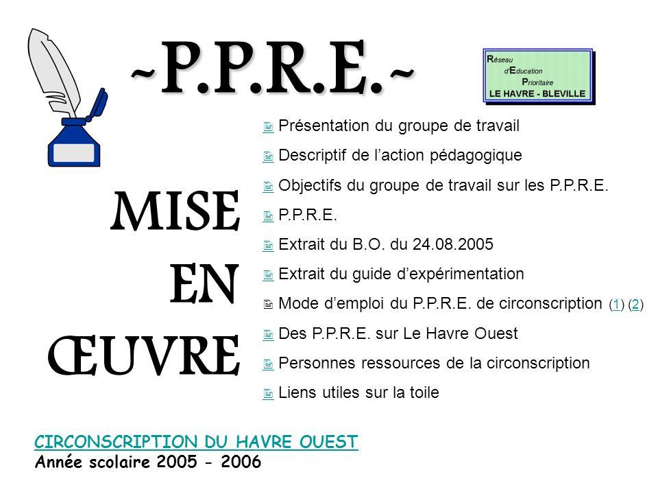 -P.P.R.E.- MISE EN ŒUVRE  Présentation du groupe de travail