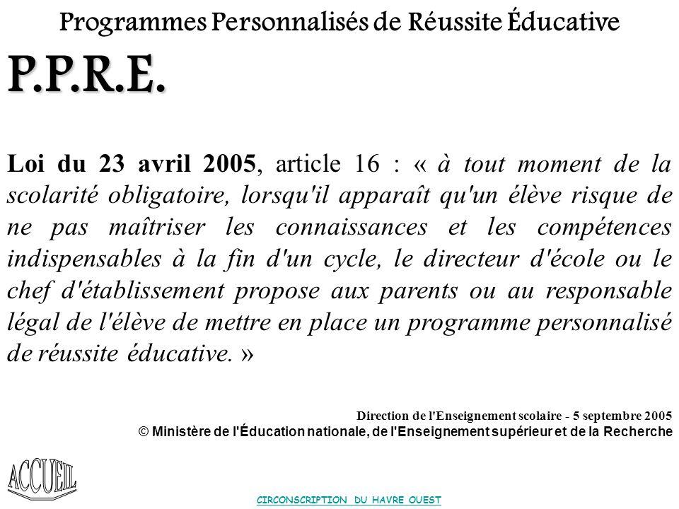 P.P.R.E. Programmes Personnalisés de Réussite Éducative