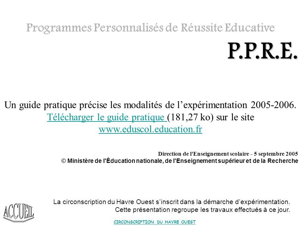P.P.R.E. Programmes Personnalisés de Réussite Educative