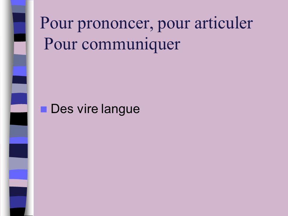Pour prononcer, pour articuler Pour communiquer