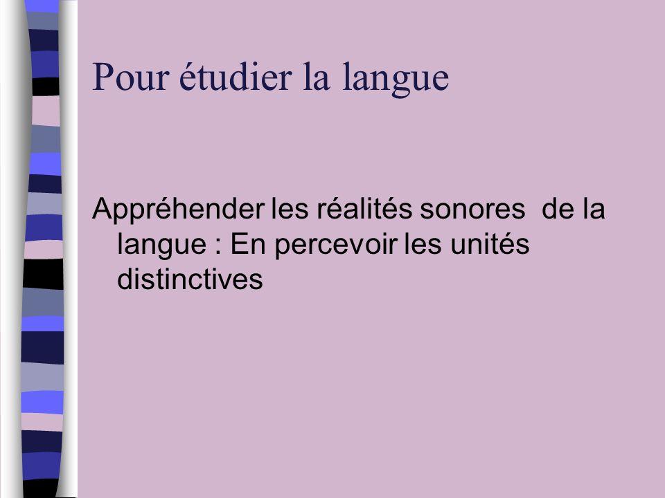 Pour étudier la langue Appréhender les réalités sonores de la langue : En percevoir les unités distinctives.