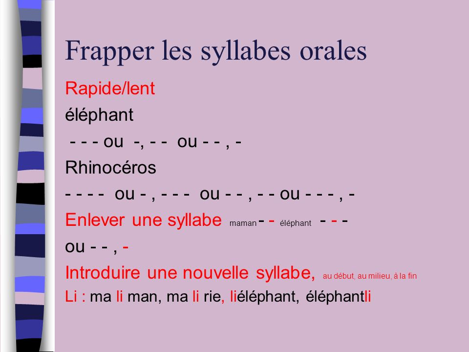 Frapper les syllabes orales