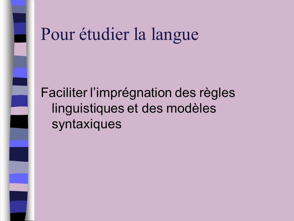 Pour étudier la langue Faciliter l'imprégnation des règles linguistiques et des modèles syntaxiques