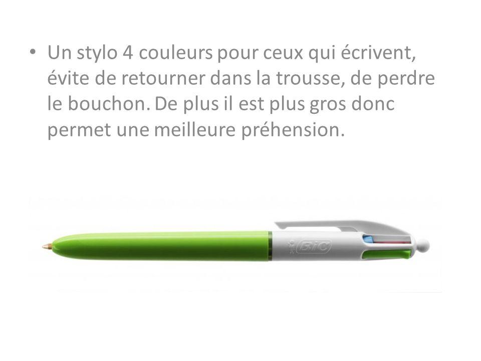 Un stylo 4 couleurs pour ceux qui écrivent, évite de retourner dans la trousse, de perdre le bouchon.