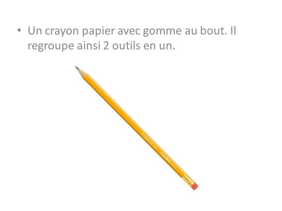 Un crayon papier avec gomme au bout. Il regroupe ainsi 2 outils en un.