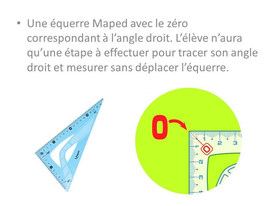 Une équerre Maped avec le zéro correspondant à l'angle droit