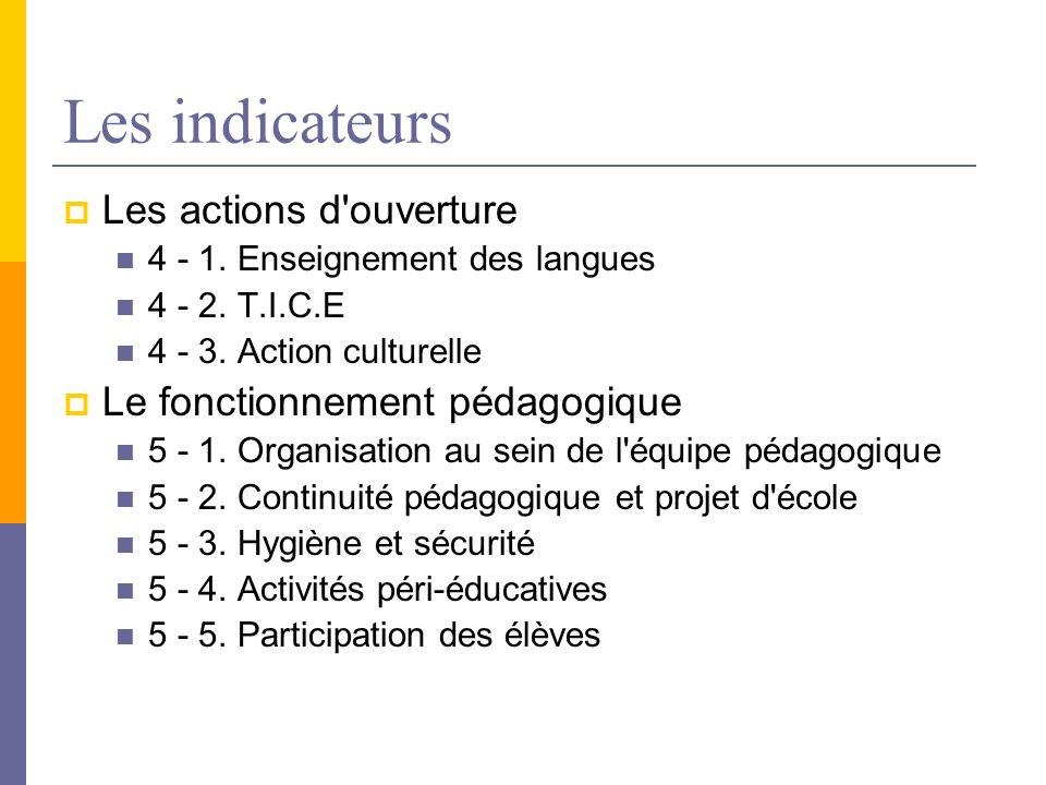 Les indicateurs Les actions d ouverture Le fonctionnement pédagogique