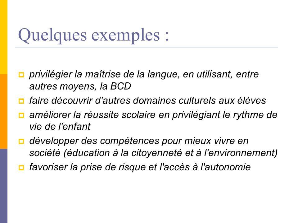 Quelques exemples : privilégier la maîtrise de la langue, en utilisant, entre autres moyens, la BCD.